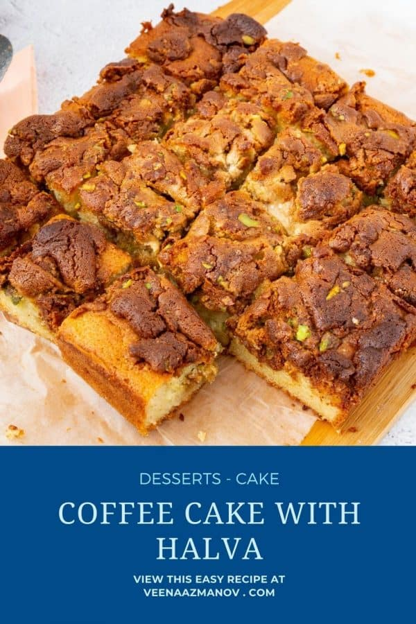 Pinterest image for cake with pistachio halva.
