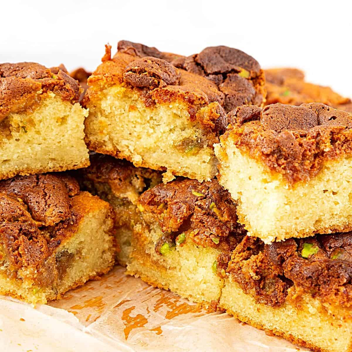 Stack of halva squares on a board.
