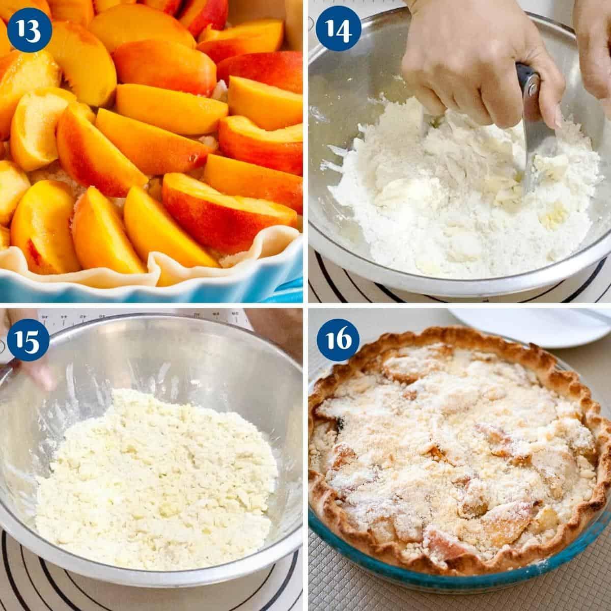 Progress pictures baking the peach crumble pie.