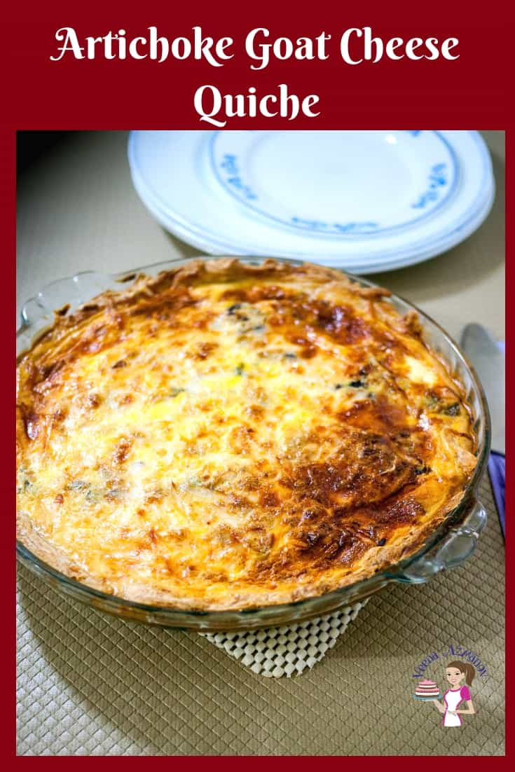 Impress your family and friends with this artichoke and goat cheese quiche made with homemade pie crust. Perfect for brunch or when you need to entertain. #quiche #artichoke #goatcheese #cheese #goat #recipe #tart via @Veenaazmanov