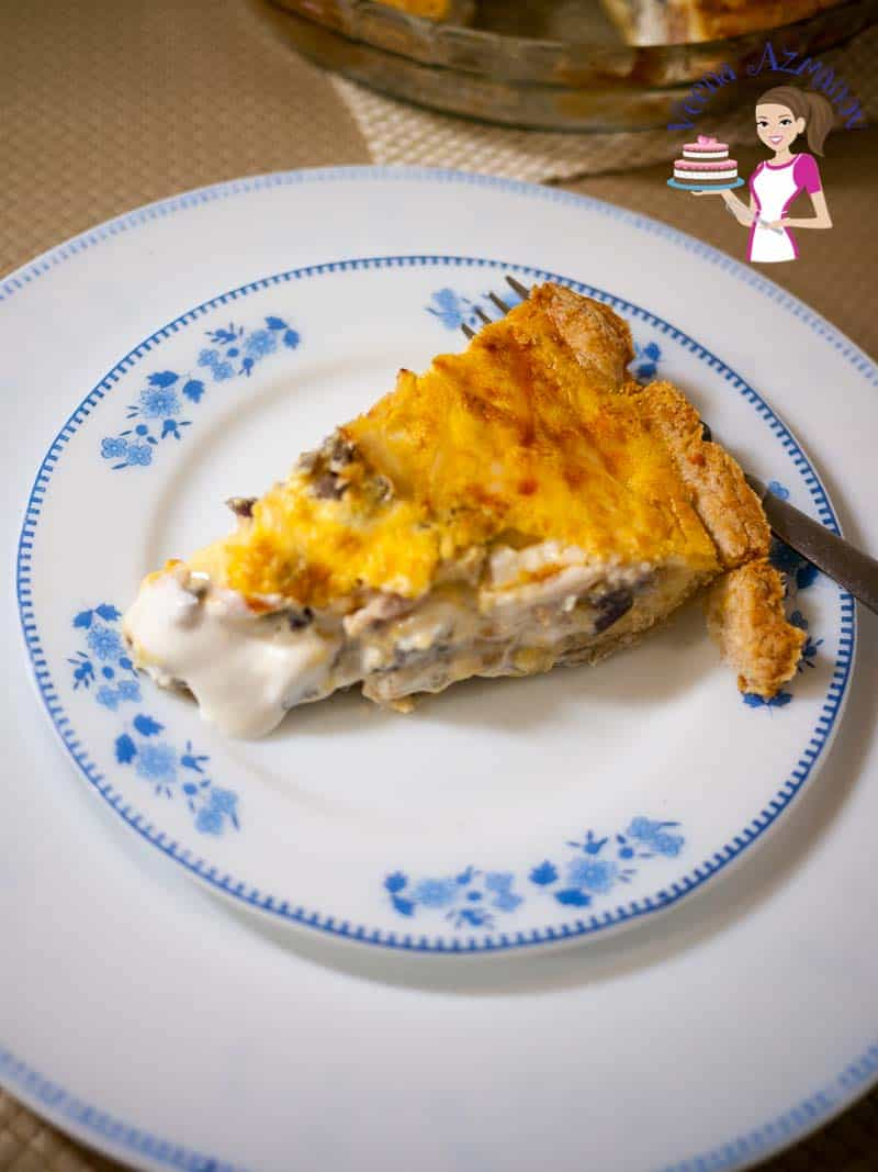 Homemade quiche with flaky pie crust and a scrumptious goat cheese and artichoke filling.