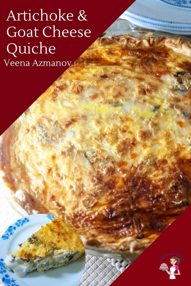 Tender buttery, flaky homemade pie crust filled with a custard-based goat cheese filling is what this artichoke quiche is all about. With almost everything in this recipe that can be made ahead of time. A homemade quiche perfect for brunch or entertaining and a great way to impress family and friends during the holidays. #quiche #artichoke #goatcheese #cheese #homemadequiche #recipe via @Veenaazmanov