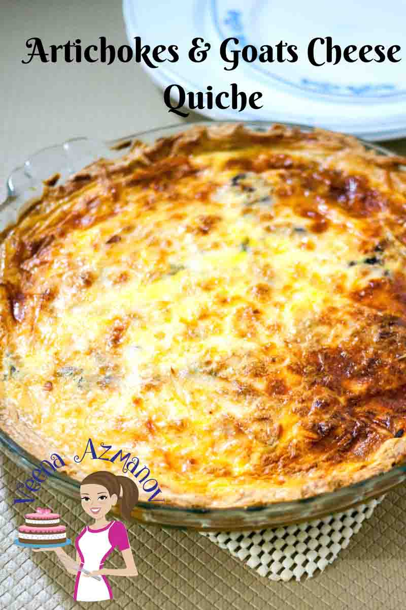 This Cheesy Artichokes and Goats Cheese Quiche ha a creamy souffle like filling made with three types of cheese including goats cheese with a bit of artichokes. Made with fresh or frozen artichokes this classic can be enjoyed whole year round and is always a great party pleaser.