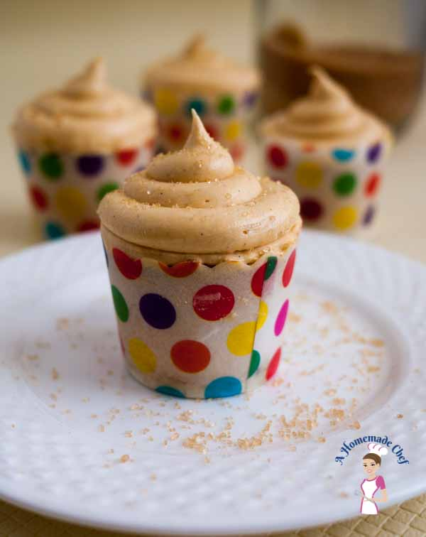 This is an absolutely delicious Brown Sugar Cupcakes recipe. The molasses in the brown sugar adds so much of depth and flavor to this cupcake and Buttercream. You can see how gorgeous this batter is. Love that color and love the color of the buttercream too by food blog A homemade Chef