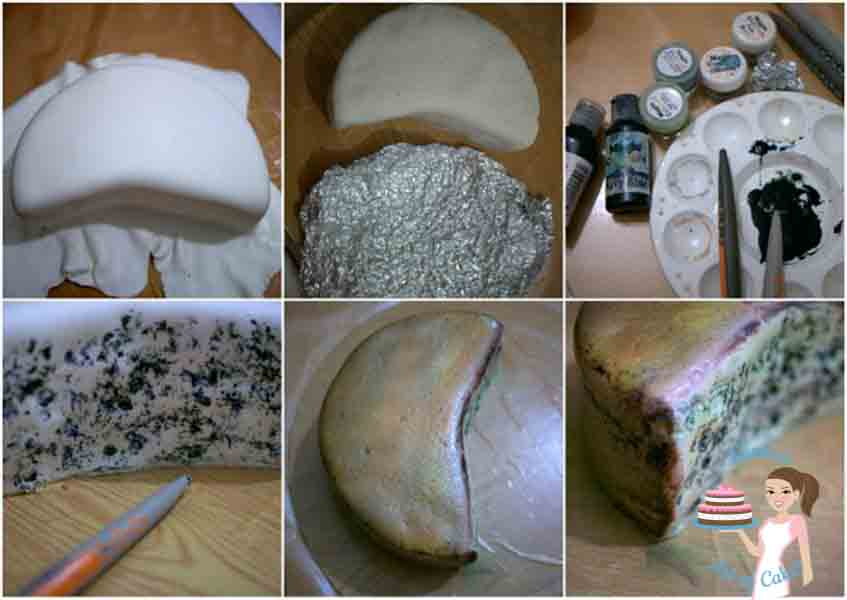 Progress photos of making a cake decorated to look like three pieces of different cheeses.
