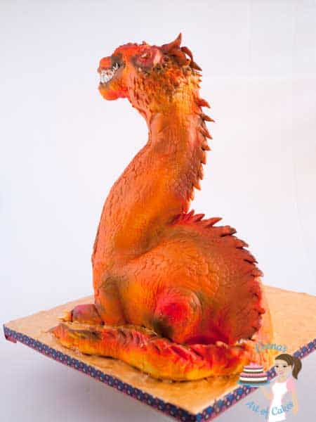 The back of the Dragon Cake - A gravity defying cake , made with fondant, modeling chocolate and airbrushed by Veenas Art of Cakes
