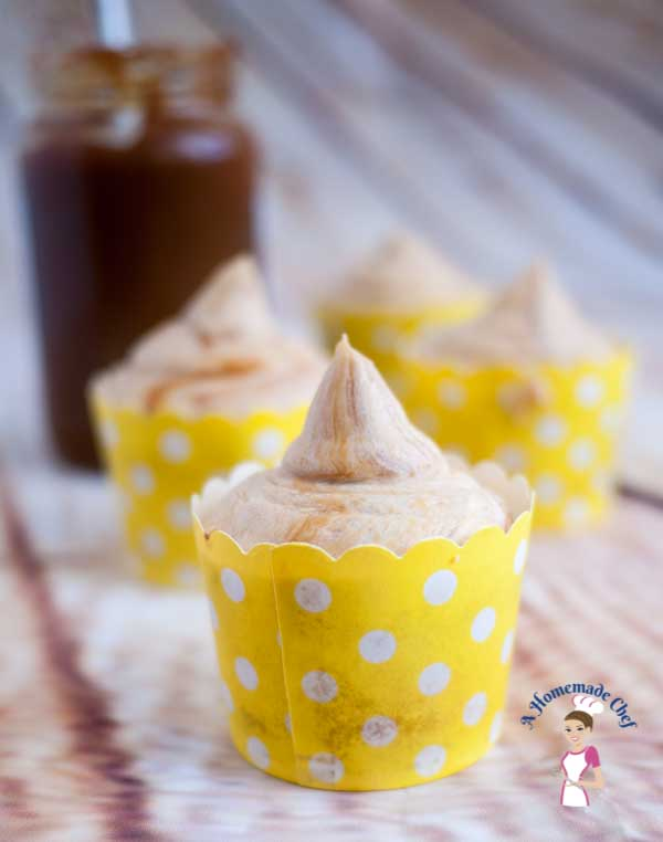 This is the best ever dulce de leche cupcakes recipe. The light and fluffy vanilla cake with the rich creamy dulce de lecher centers that just melt in your mouth; followed by the rich dulce de leche buttercream. Such an easy and simple yet delectable recipe by food blog A homemade Chef