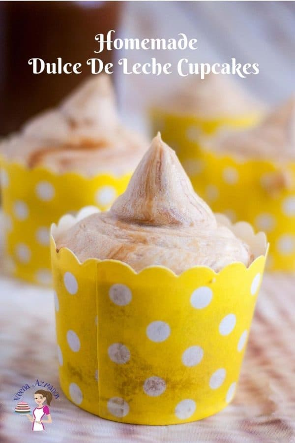 An image optimized for social media for these dulce de leche cupcakes filled with dulce de leche centers and frosted with more dulce de leche buttercream