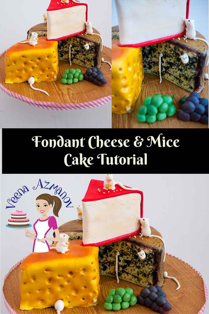 A cake decorated to look like three pieces of different cheeses.