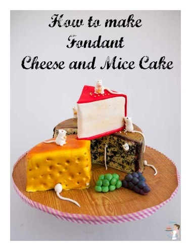 A cake decorated to look like three pieces of cheese.