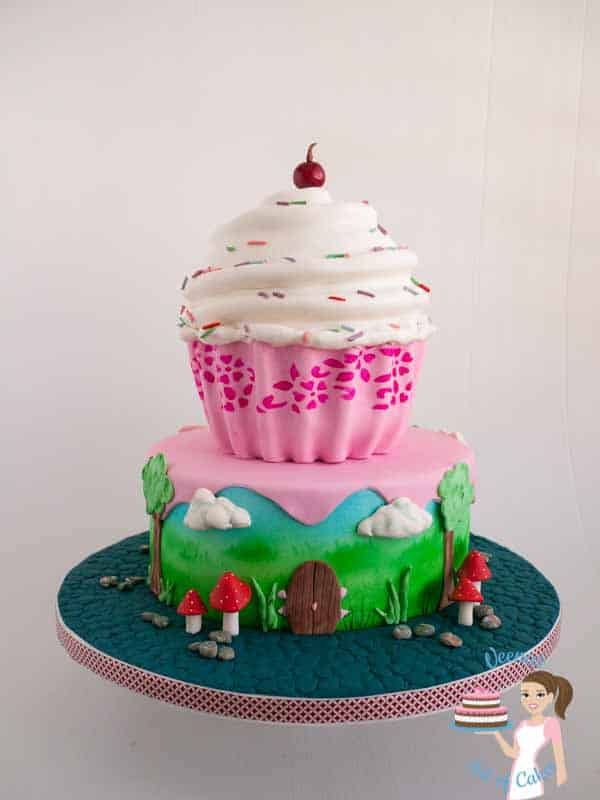 A decorated giant cake cupcake