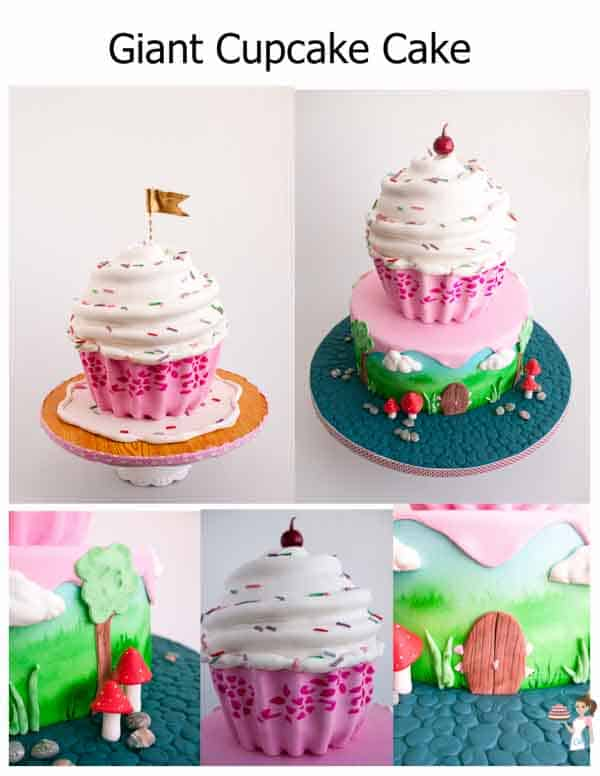 A collage of the giant cupcake cake