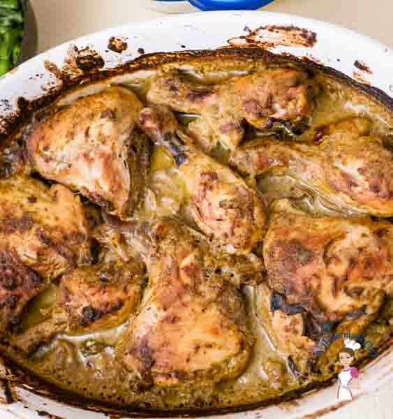 Baked Indian Chickenrecipe is really simple and easy. All you do is assemble the ingredients in a baking dish, in it goes into the oven and in an hour my meal is ready; you can serve this with white rice or even some crusty bread by food blog A Homemade Chef