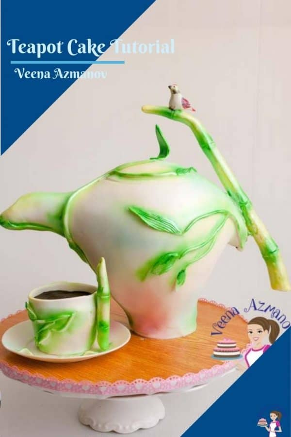 A pinterest image for teapot cake tutorial