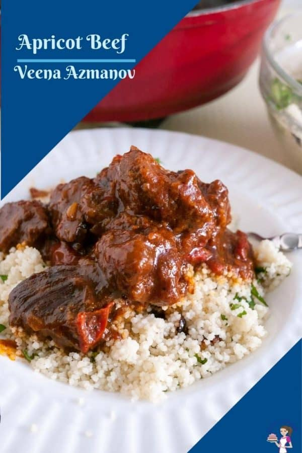 Beef stew with couscous in a plate.