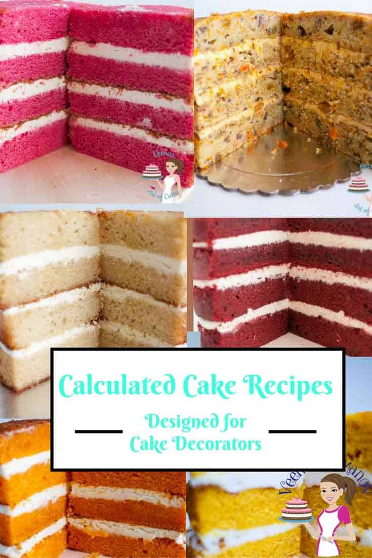 Calculated Cake Recipes is a collection of cake recipes that have been calculated into 15 different tiers designed especially for cake decorators. No more frustration of calculating recipes or too much excess cake batter left overs.