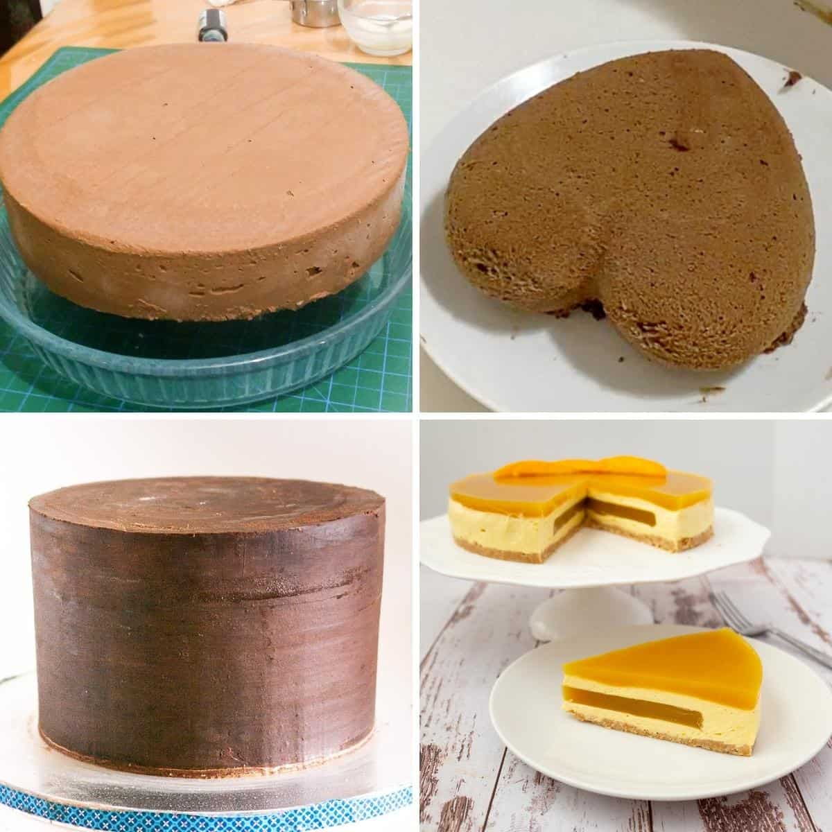 Collage showing types of cake for mirror glaze.