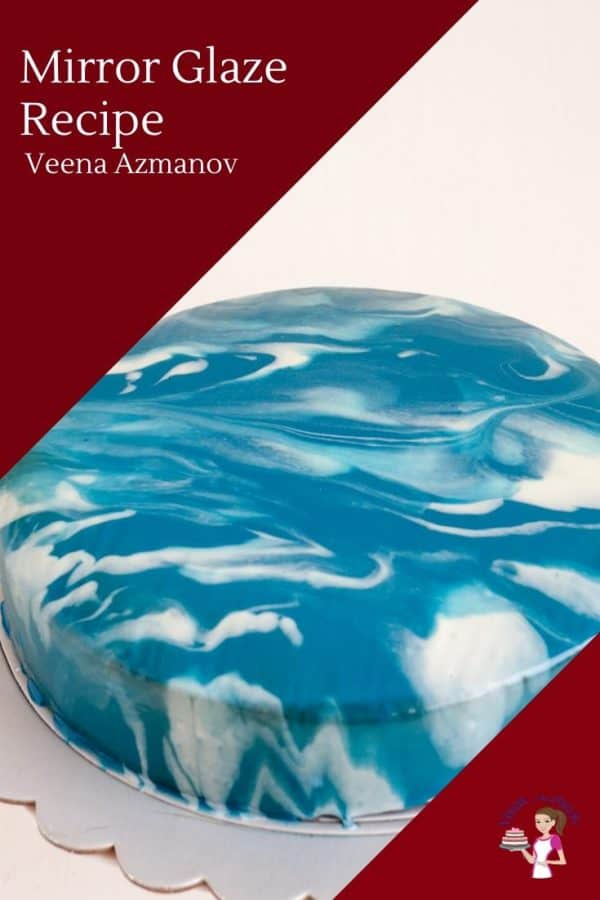 A blue and white mirror glaze cake.