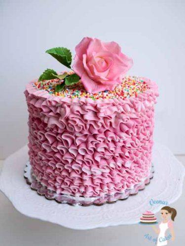 Pink Buttercream Ruffles Cake (4)