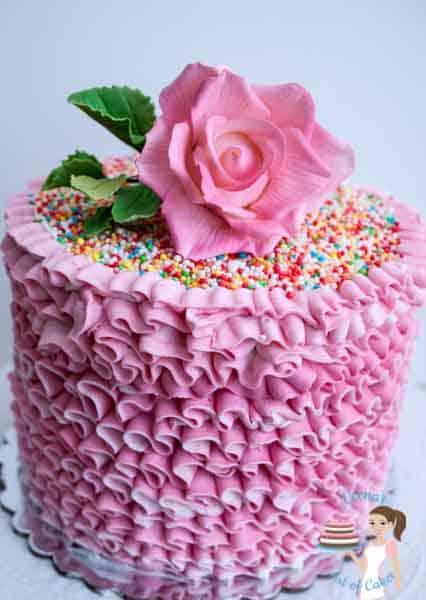 Pink Buttercream Ruffles Cake.