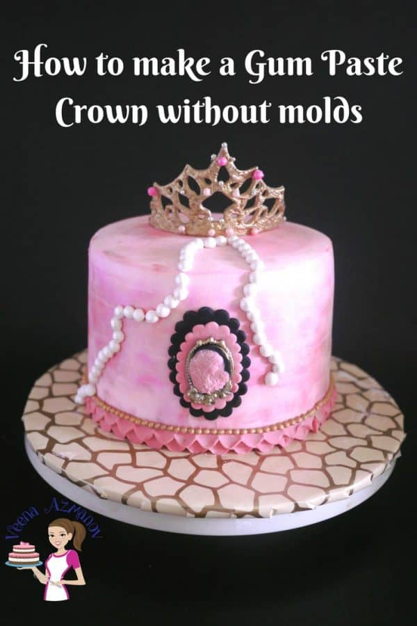 A Princess Crown Cake is a perfect cake for a little princess. I used this watercolor effect with petal dust and made this gum paste princess crown without any molds. It was so easy as you can see in the video tutorial below.