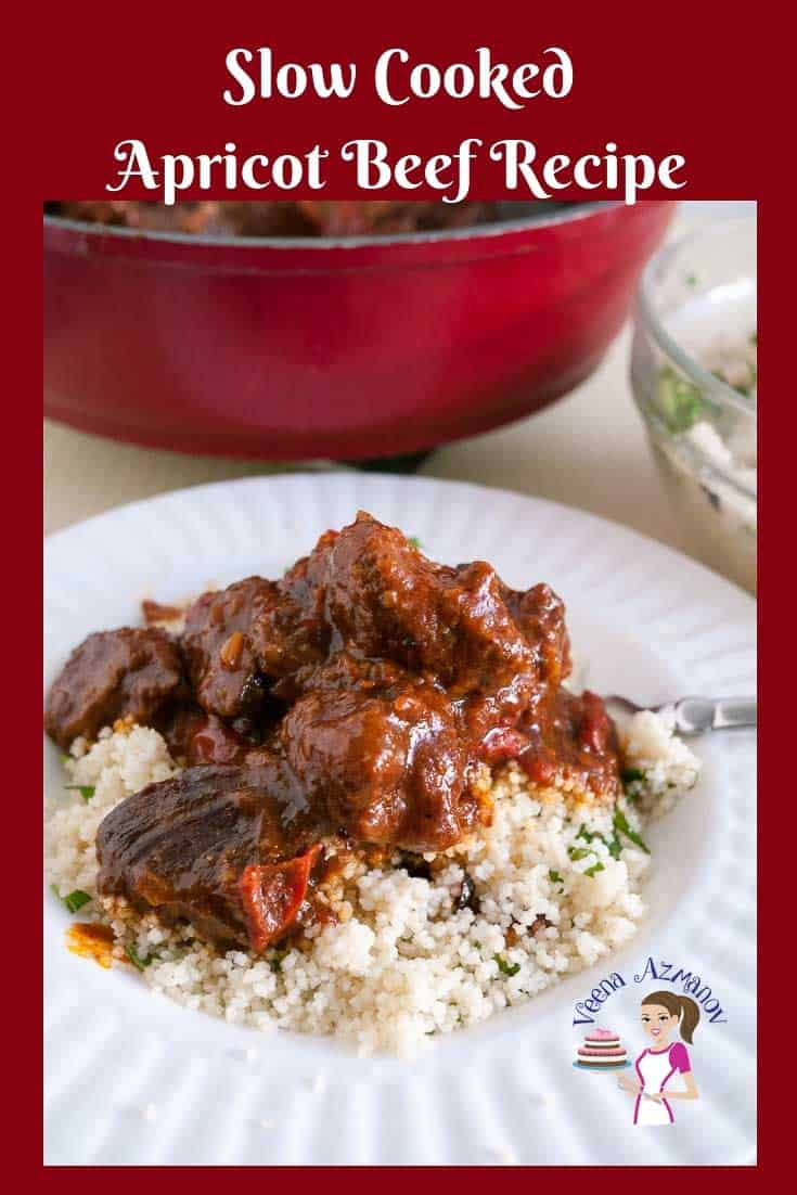This Apricot Beef recipe is absolutely heavenly. Slow cooked until fork tender with tomatoes and spices. A little zing of apricot jam takes it to it's ultimate comfort. It takes only 10 minutes hands on work and the oven does the rest of the work. Perfect for busy days.