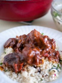 This slow cooked apricot beef is absolutely heavenly. It takes only 10 minutes hands on work and the oven does the rest. The slow cooking makes the meat fork tender and melts in your mouth. The apricots adds a rich fruity flavor and complements the beef and spices really well. Recipe by A Homemade Chef.