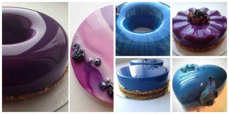 A collage of mirror glaze cakes.