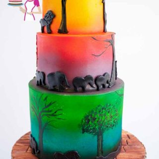 An African safari cake is perfect cake for any one who loves the sun or sunset and animals. Creating this cake was so much fun with airbrushing and details
