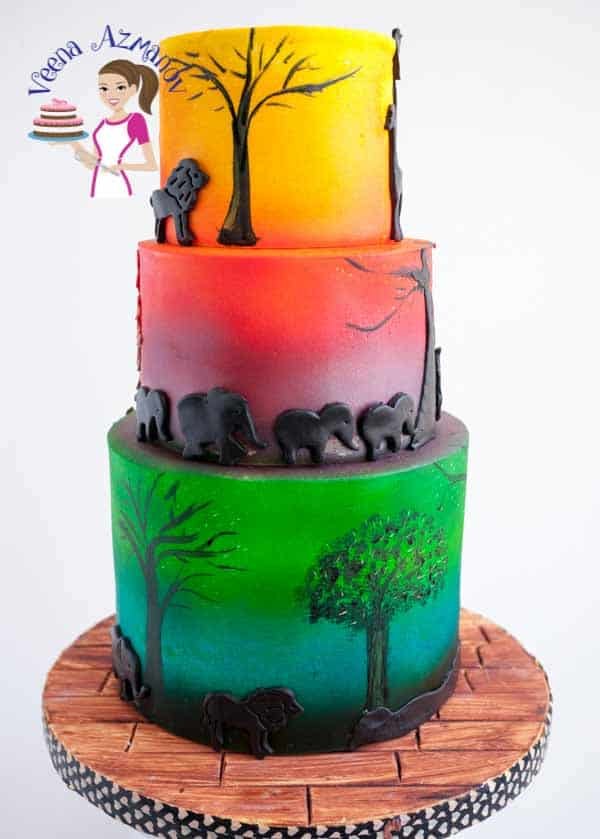 African Safari Sunset Cake with cute animal silhouette