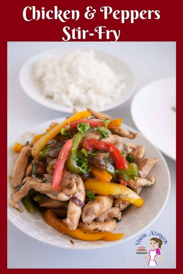 Chicken and peppers stir fry in a plate.