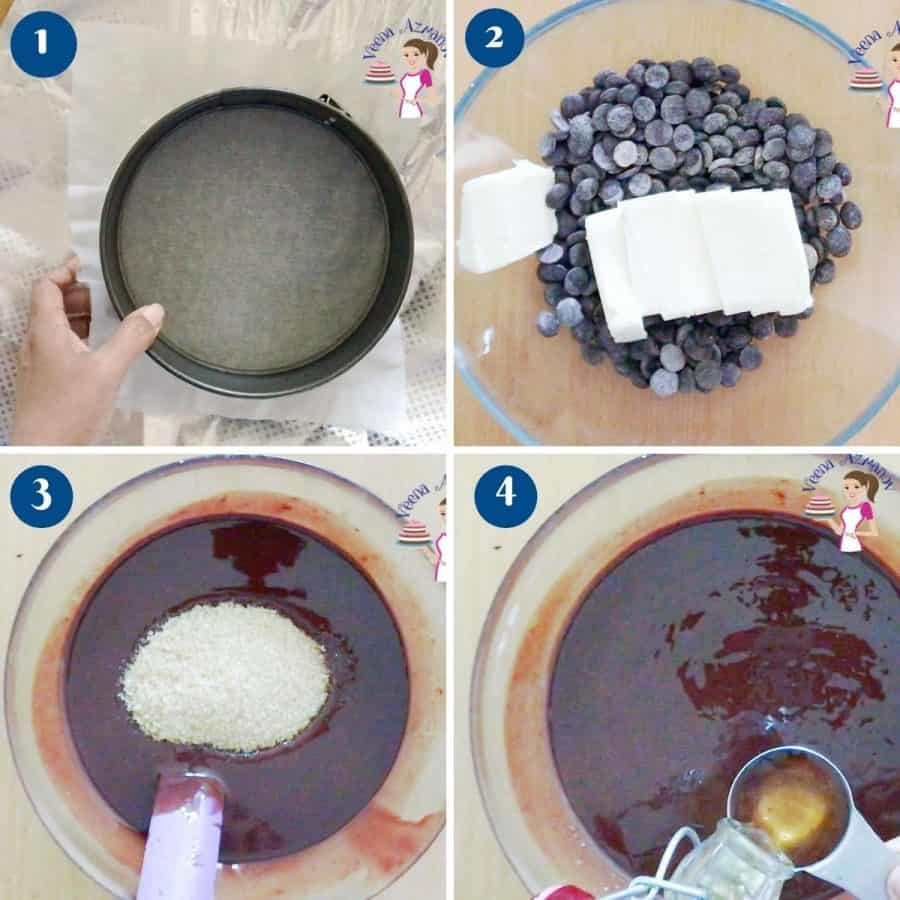 Progress pictures collage for chocolate torte insert.