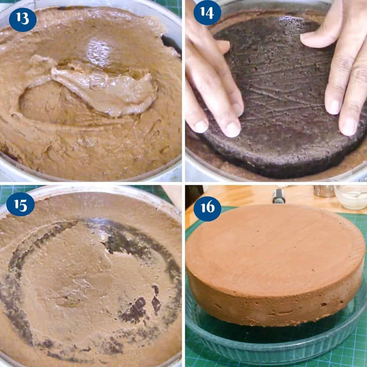 Progress pictures collage for chocolate mousse cake.