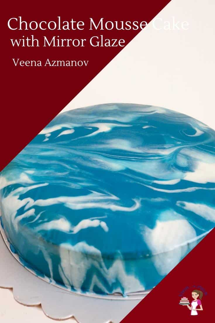 A blue and white mirror glaze cake