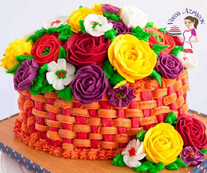 A cake decorated like a basket of flowers.