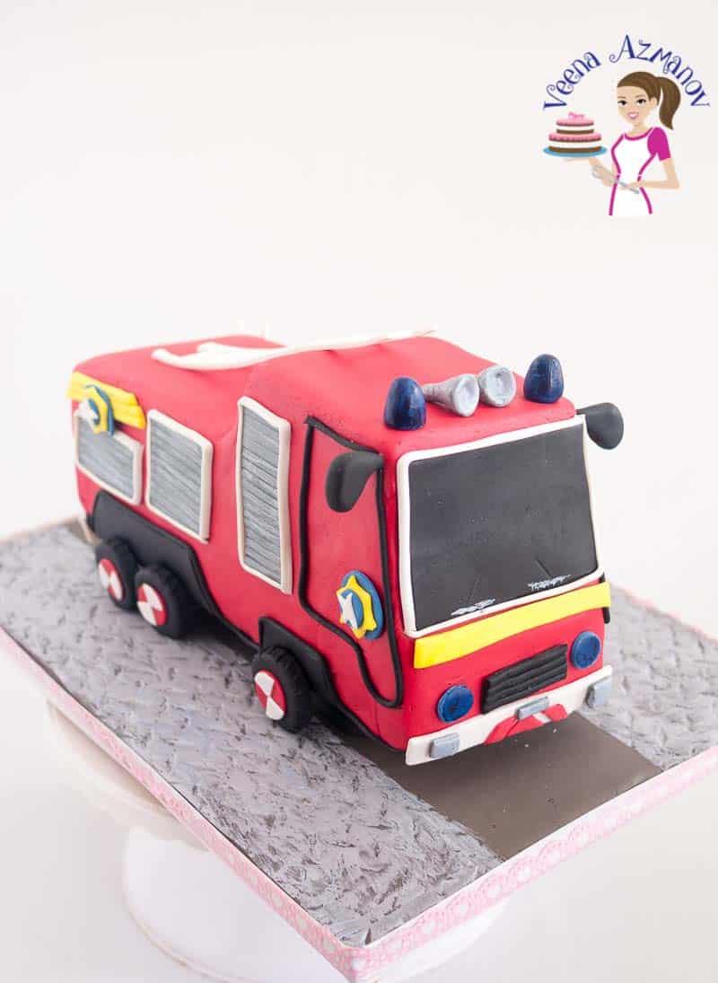 A fire truck cake.