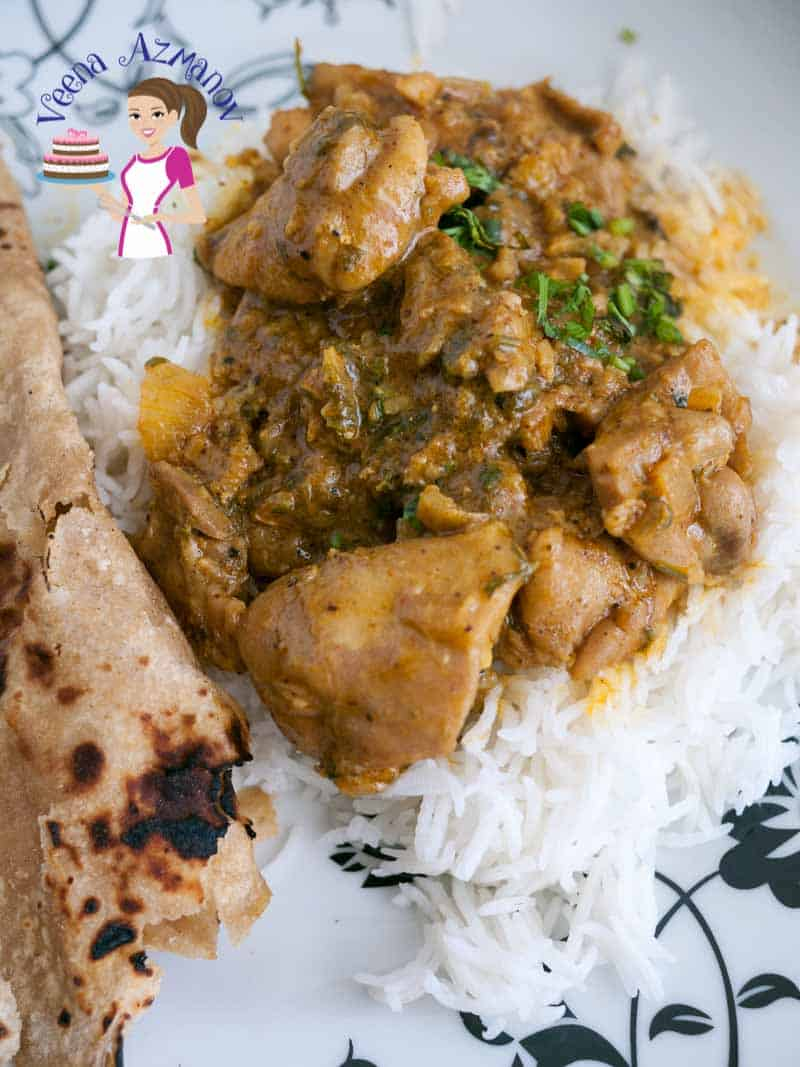 A top view of this simple, easy and quick chicken curry with just few ingredients served over white rice.