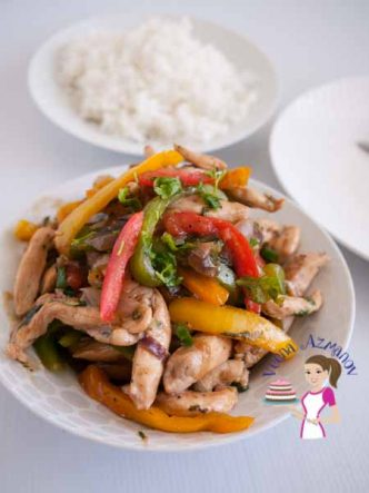 This quick chicken stir fry with peppers is the simplest easy and quickest way to get lunch or dinner on the table in 15 minutes or less esp on busy days.
