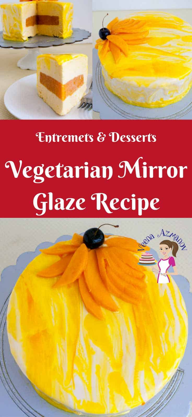 Pinterest Optimized Image for vegetarian Mirror glaze aka shiny cakes are the latest trend in the cake world. This pretty vegan mirror cakes