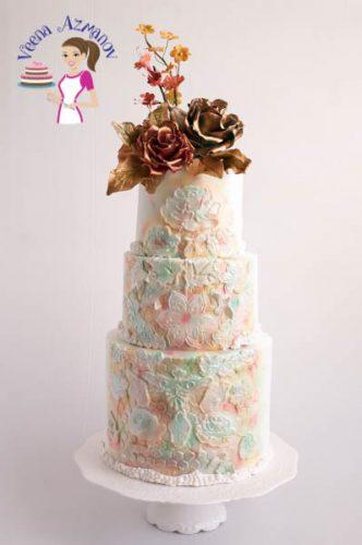 A vintage white wedding cake.