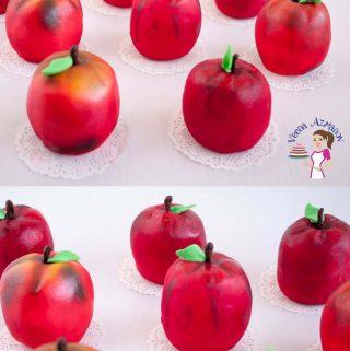 Mini cakes shaped like apples.
