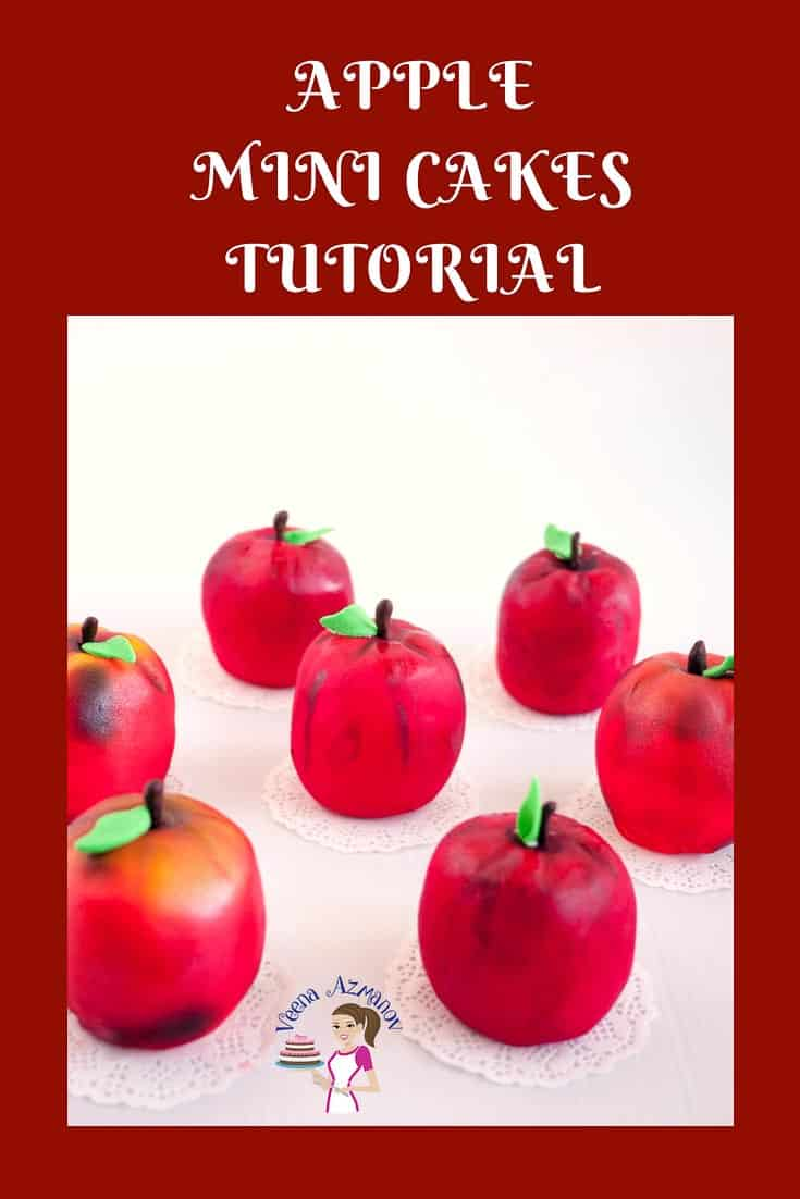 An image optimized image for these fondant apple mini cakes to celebrate this Jewish New-year or Rosh Hashanah.
