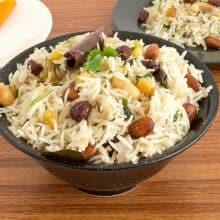 A bowl with basmati rice pilaf.