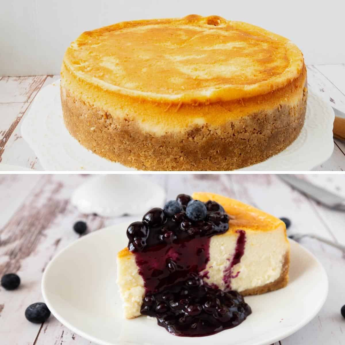 Progress pictures collage for cheesecake with blueberry filling.