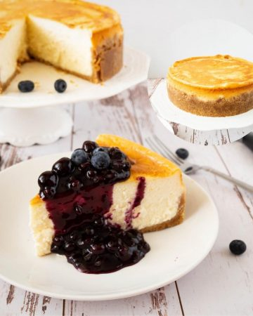 Slice of blueberry cheesecake.