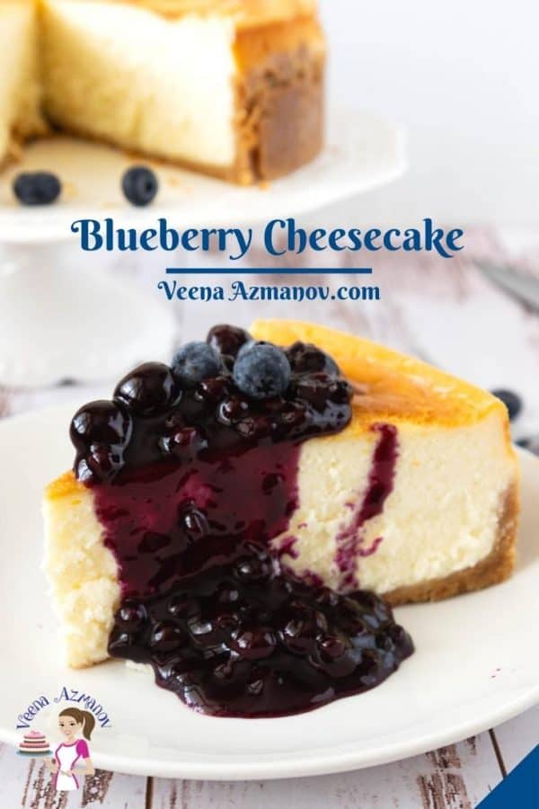 Pinterest image for blueberry cheesecake.