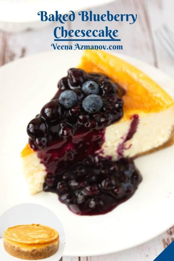 A slice of blueberry cheesecake.