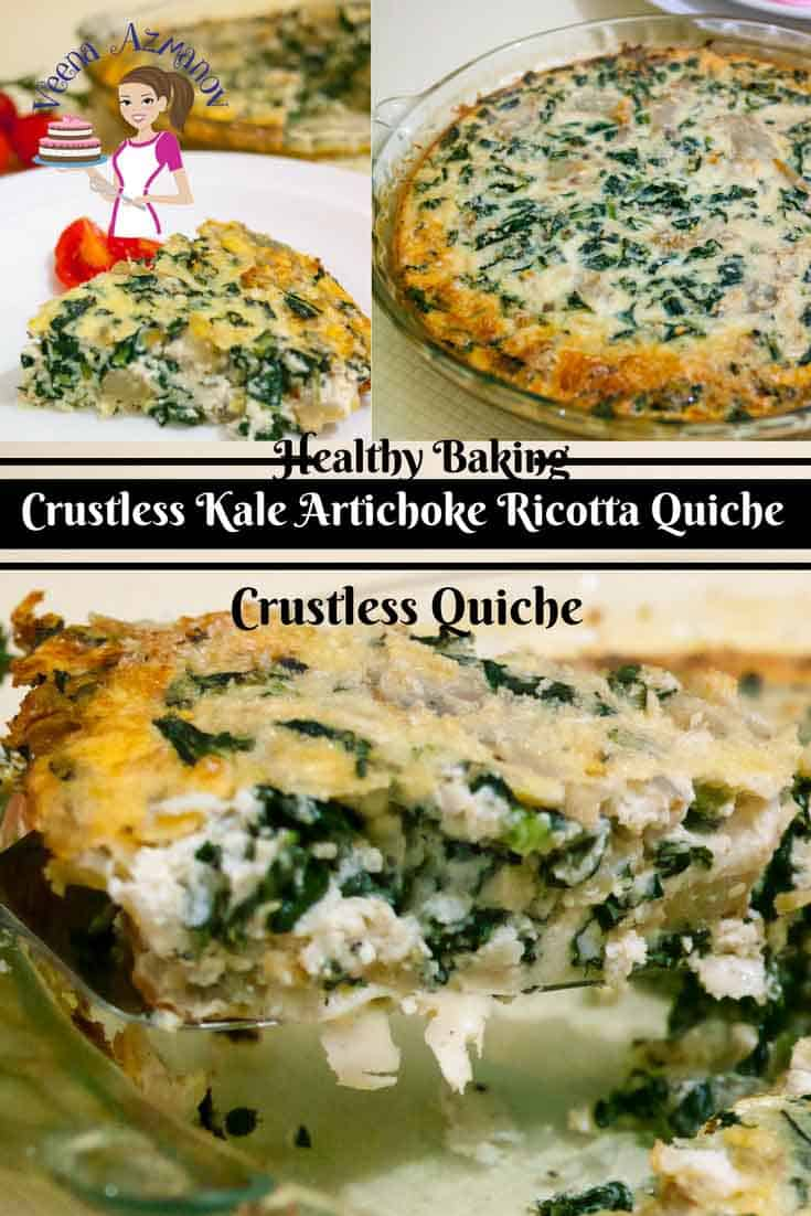 This is a simple and easy recipe for crustless kale artichoke ricotta quiche. The ricotta is a clever way to skip the extra calories and still provides the thickness needed to make this quiche creamy and melt in the mouth. The kale and artichoke are packed with flavor and nutrition. #crustless #quiche #artichoke #kale #ricotta  via @Veenaazmanov