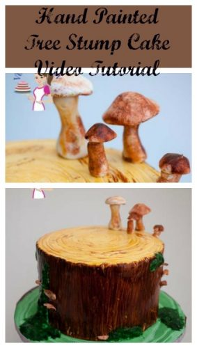 There are many ways to create a tree stump cake. In this video I show you how I created this hand painted tree stump cake with moss and sugar mushrooms too.