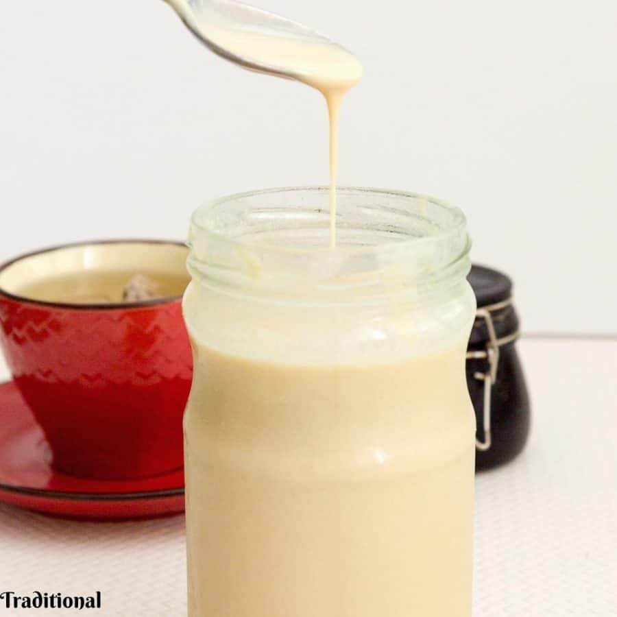 Traditional condensed milk in a jar.